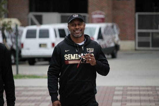 FSU coach Willie Taggart walks into the first spring practice of 2019.