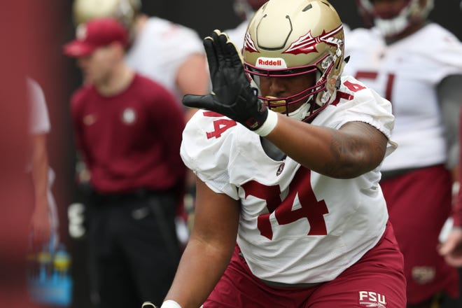 Offensive lineman Jay Williams (74) runs a drill during Florida State University football's first spring practice Monday, March 4, 2019.
