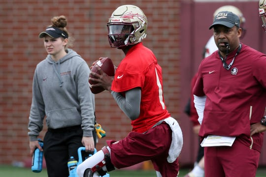 Quarterback James Blackman (1) throws the ball during Florida State University football's first spring practice Monday, March 4, 2019.