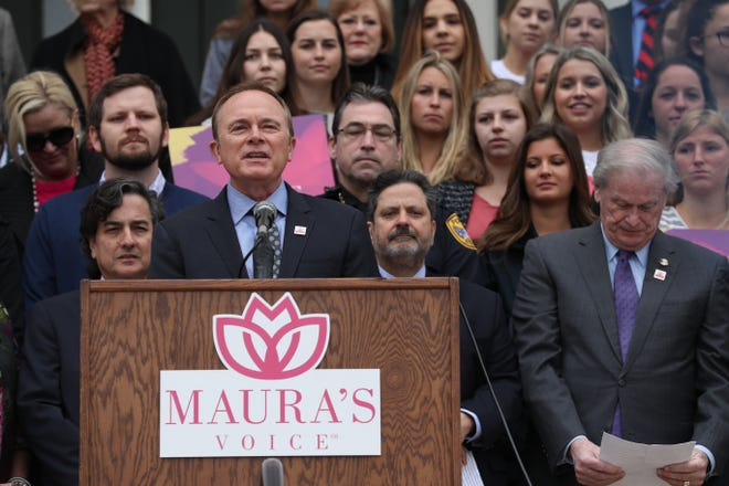 Jeff Binkley, father of Maura Binkley, speaks to the crowd gathered on the front steps of the Florida Historic Capitol to celebrate the launch of Maura's Voice Monday, March 4, 2019. Maura's Voice is a foundation created to research and understand the relationship between mental illness, hate and violence.