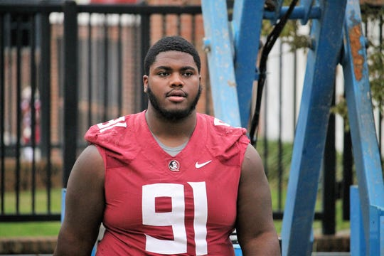 FSU defensive tackle Robert Cooper at FSU's first spring practice of 2019.
