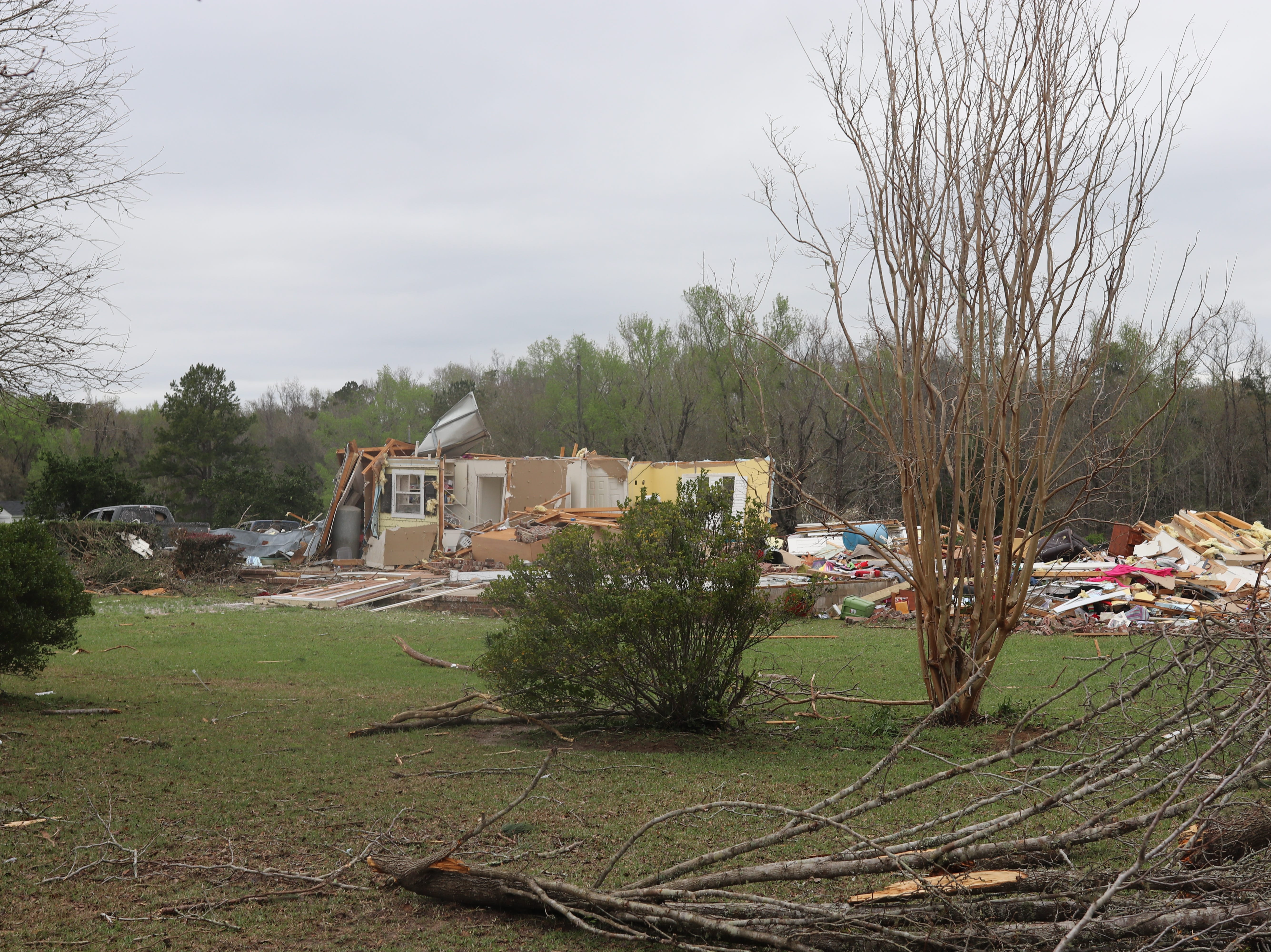 A house that was reduced to rubble in the Baum Community by a tornado Sunday March 3.