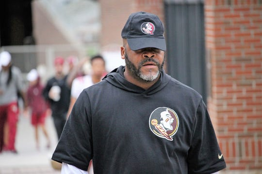 Wide receivers coach Ron Dugans at FSU's first spring practice of 2019.