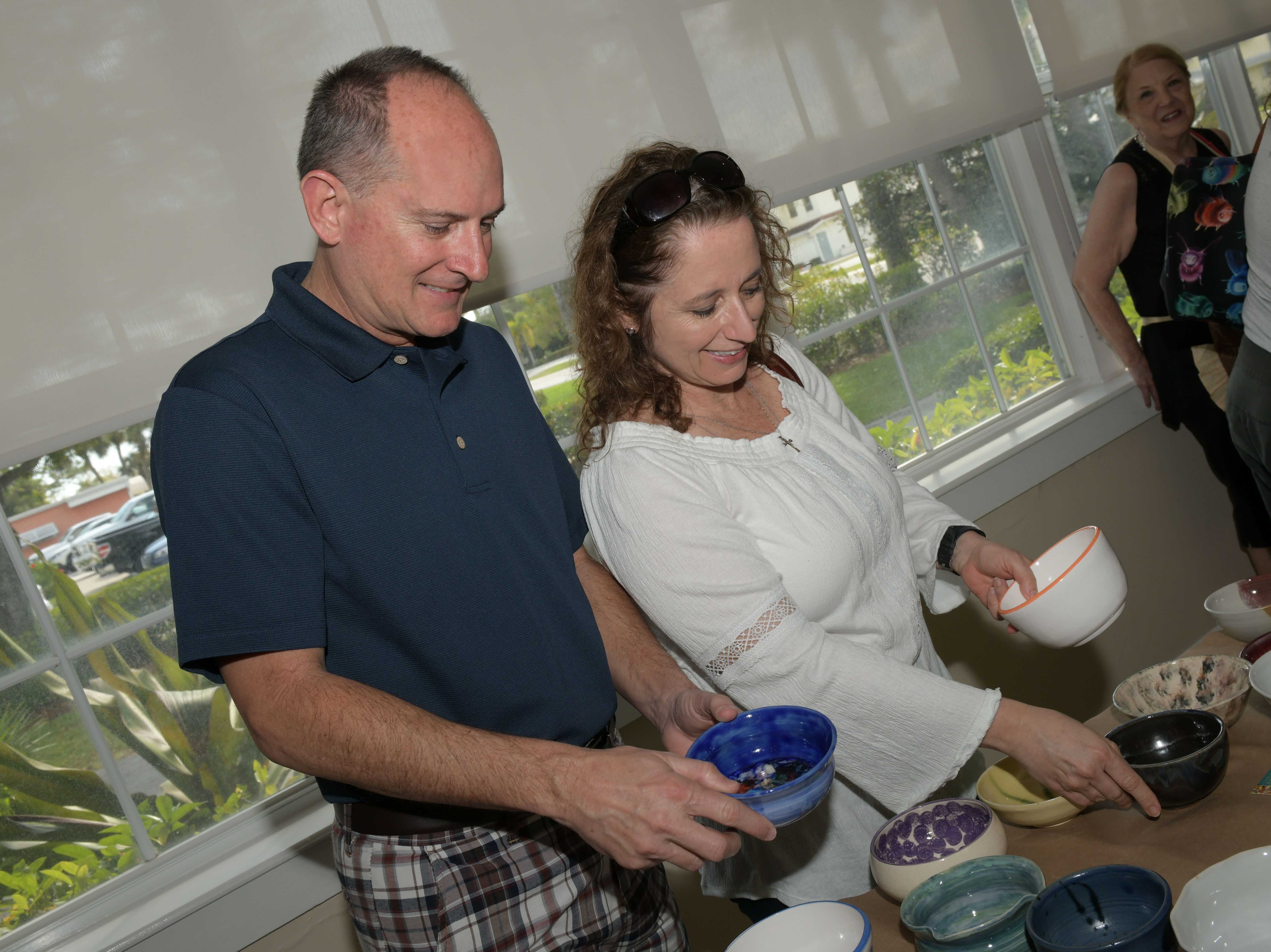 Tyson and Michelle Villwock at the 13th annual Lundin Kudo Empty Bowls Project at the Woman's Club of Stuart.