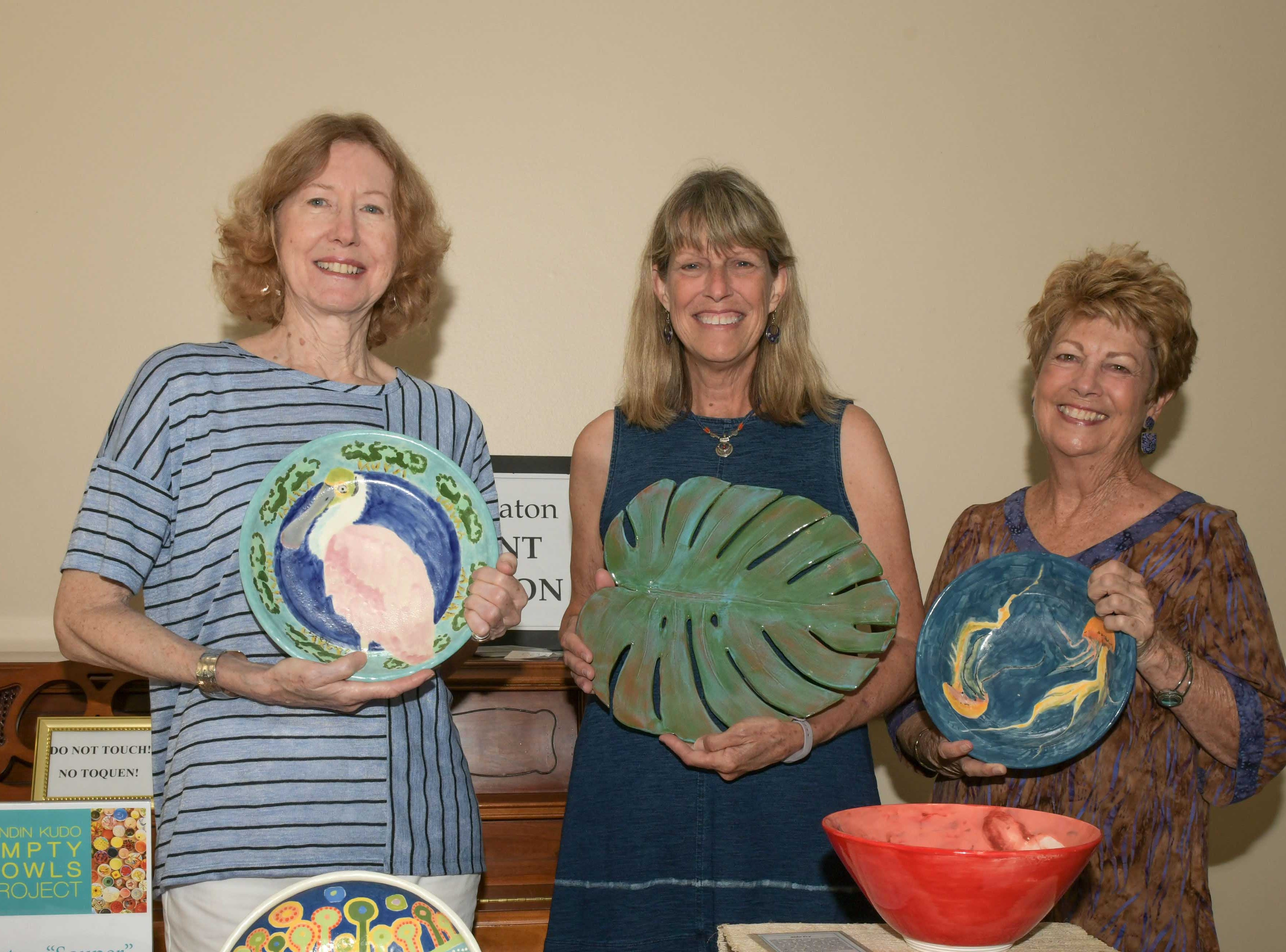 Patrice Scott, Diane Ayer and Kathy Saigh at the 13th annual Lundin Kudo Empty Bowls Project at the Woman's Club of Stuart.