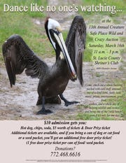 The 2019 Creature Safe Place Auction is11 a.m. to 3 p.m. March 16at the St. Lucie County Shriners' Club,4600 Oleander Ave., just north of Midway Road in Fort Pierce.