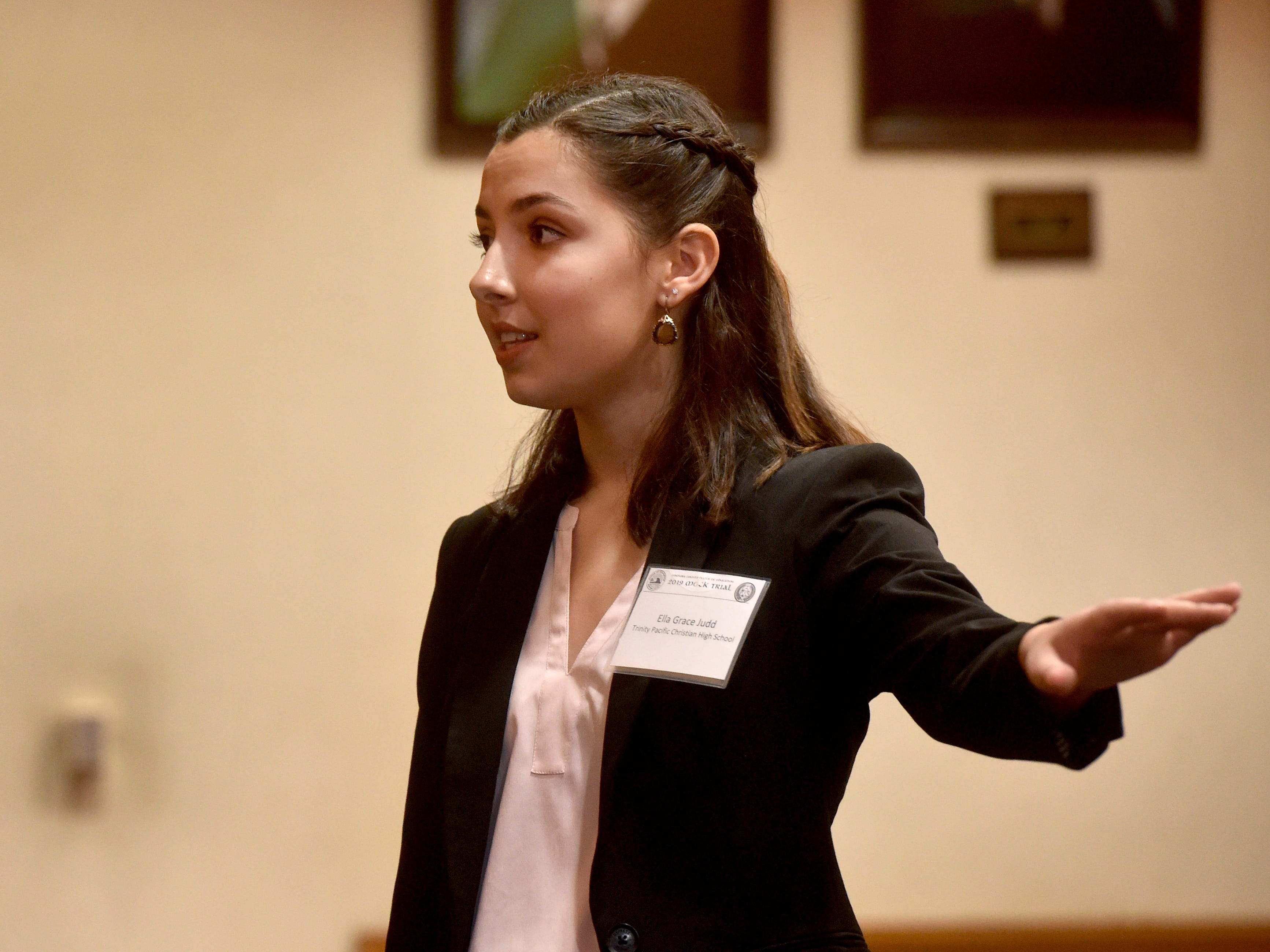 Ella Grace Judd, of Trinity Pacific Christian School in Thousand Oaks, cross examines a witness during one of the final rounds in the Ventura County Mock Trial competition on Thursday.