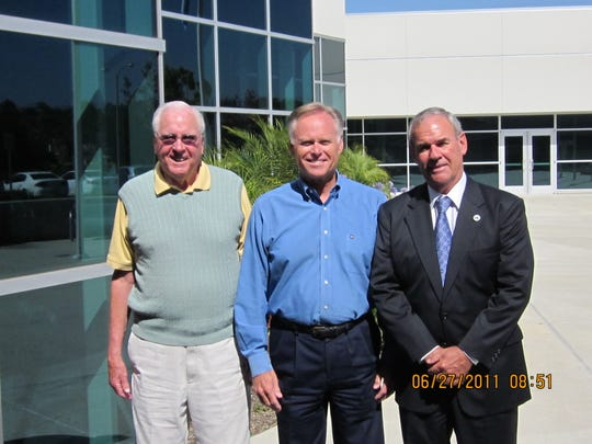 Jim Cowan, from left, Charles Weis and Stan Mantooth pose outside of the Ventura County Office of Education in 2011. Cowan, the longest serving Ventura County superintendent of schools, died recently. Weis succeeded Cowan. Mantooth is the current superintendent.