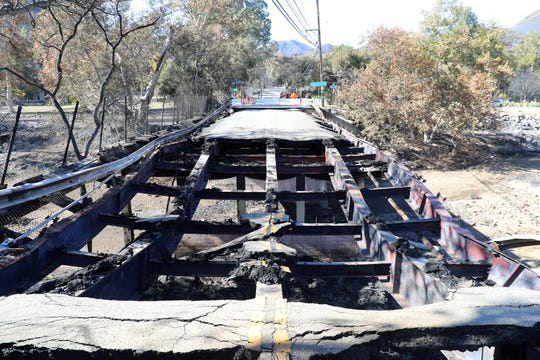 A bridge burned during the Woolsey Fire, knocking out a 10-inch water main in the Las Virgenes Municipal Water District.