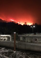 The glow of the Woolsey Fire seen at the Tapia Water Reclamation facility near Agoura Hills.