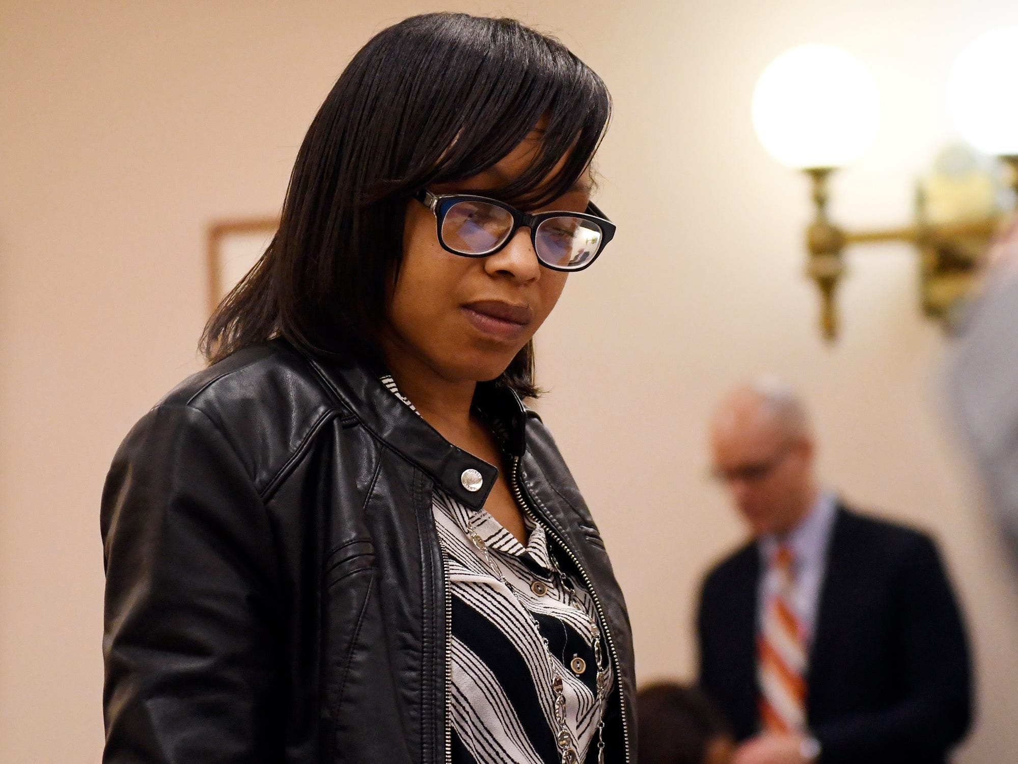 Genea Hughes-Lee appears in Cumberland County Superior Court before Judge Michael Silvanio on Monday, March 4, 2019. Hughes-Lee has been charged with conspiracy to hinder apprehension, obstruction, and two counts of making false reports to law enforcement.