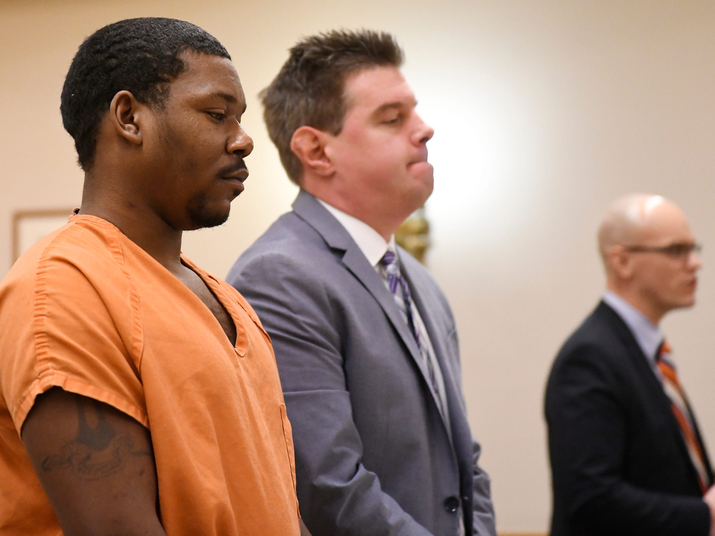 Clifton D. Bailey, left, stands with his attorney, Patrick Joyce, in Cumberland County Superior Court on Monday, March 4, 2019. Bailey is charged with homicide in the killing of Joseph Jones behind Lakeside Middle School in Millville.