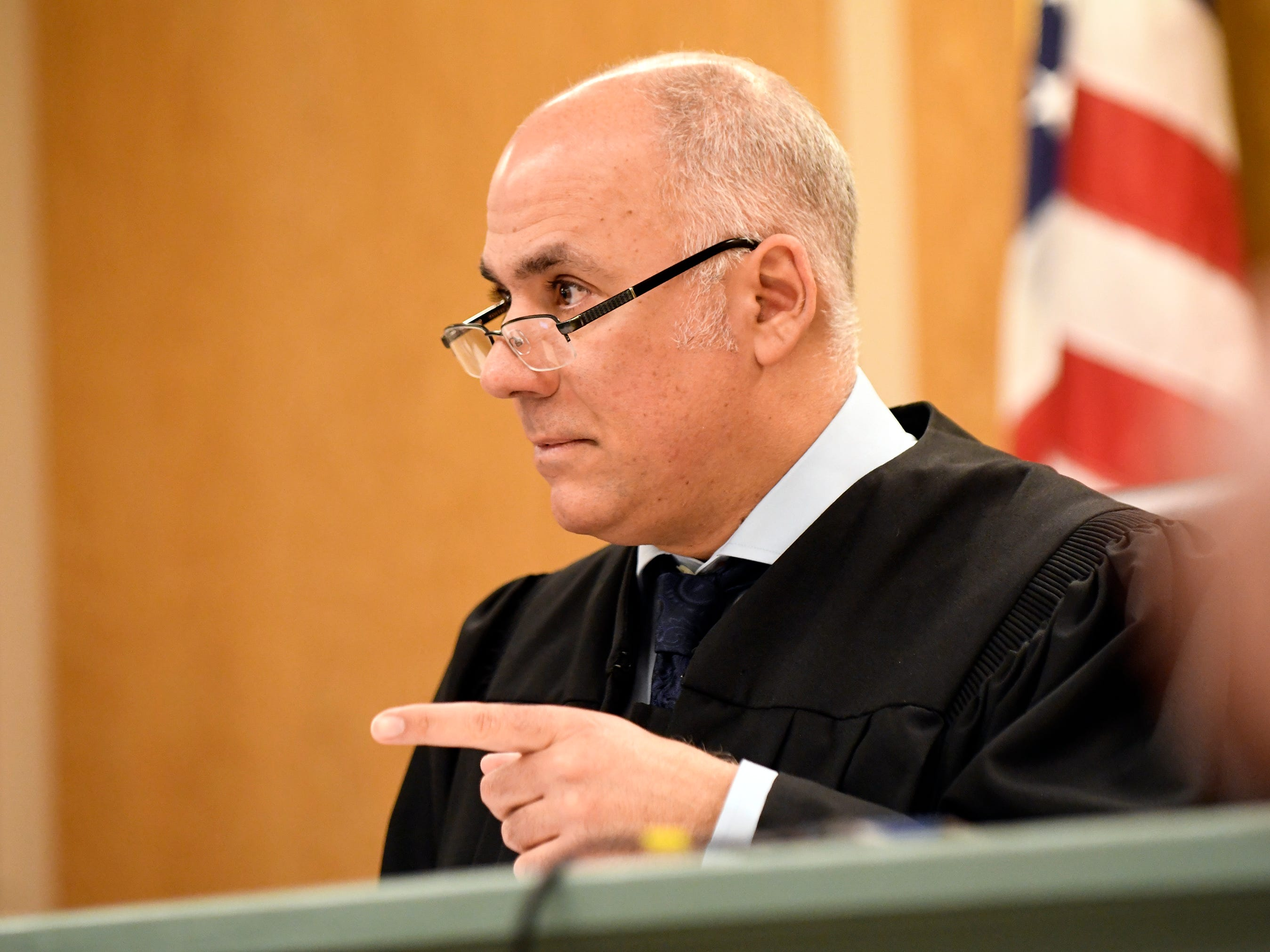 Judge Michael Silvanio presided in Cumberland County Superior Court as three people accused in connection with the fatal shooting of a former Millville youth football coach appeared before him on Monday, March 4, 2019.