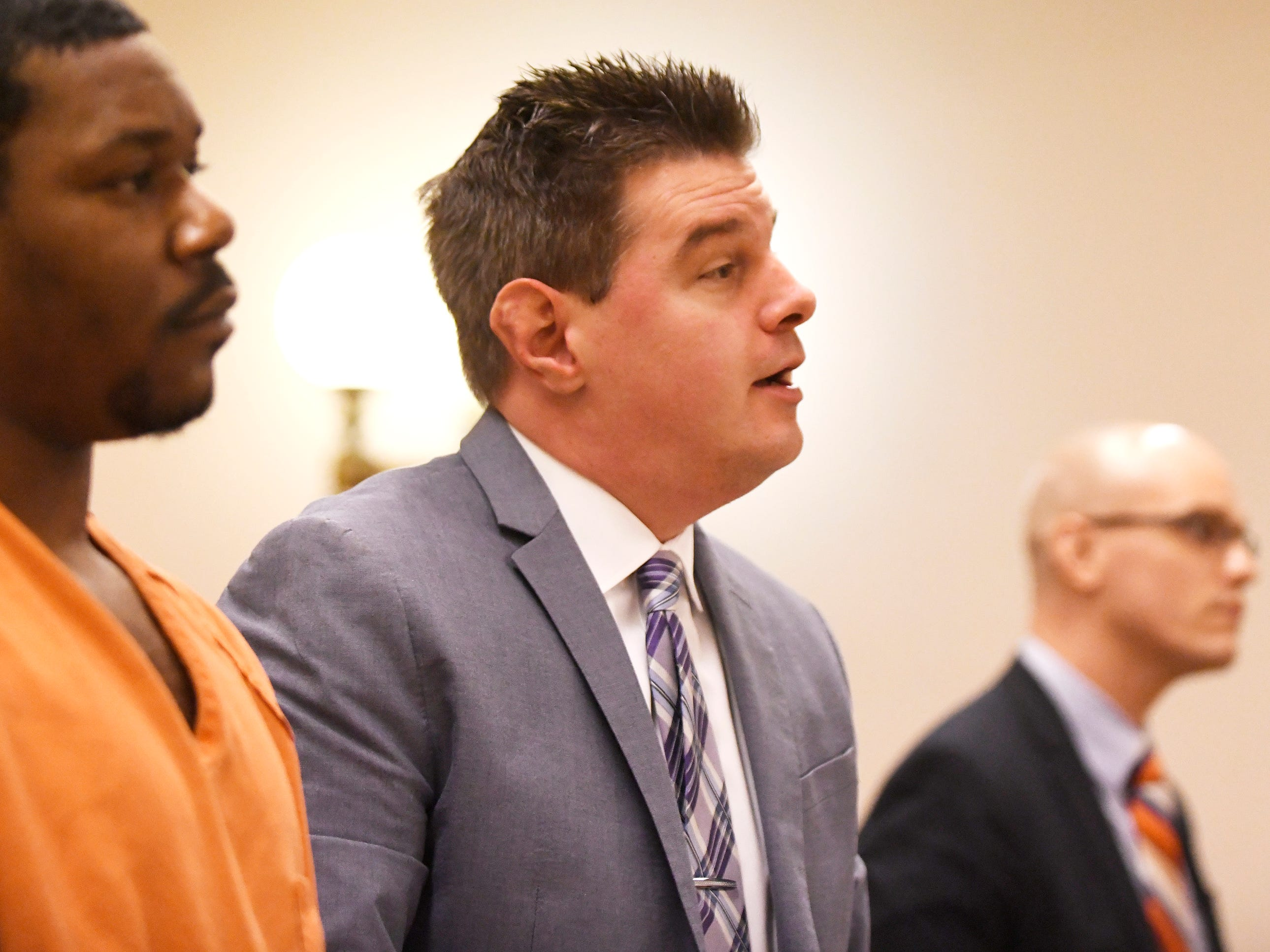 Clifton D. Bailey's laywer, Patrick Joyce, speaks to Judge Michael Silvanio in Cumberland County Superior Court on Monday, March 4, 2019.