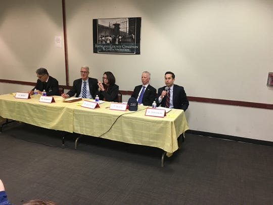 Five Democratic Party candidates running for Rockland district attorney. From left, Victor Alfieri, Michael Diederich, Patricia Gumming, Thomas Walsh, Kenneth Zebrowski. The forum was held at the Louis Kurtz Civic Center on March 1 in Spring Valley.