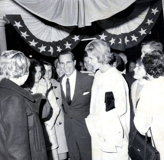 U.S. Rep. Ogden Reid and wife, Mary Louise Reid, celebrate his re-election at White Plains Republican headquarters Nov. 8, 1966.