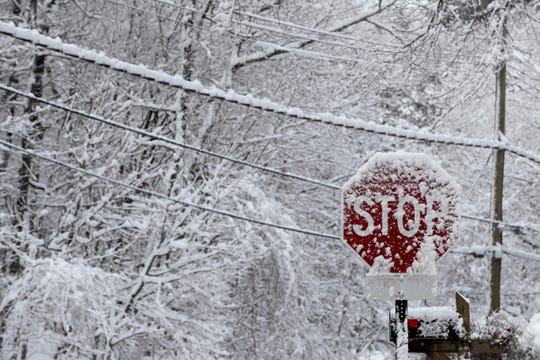 After overnight snow brought up to a foot of snow to parts of the Lower Hudson region March 4, 2019, some rural roads in the Town of Ossining were still covered with snow during the morning hours. Snow clung to trees, power lines, and signs.
