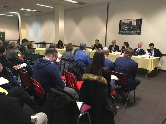 Part of the audience of more than 80 people who attended the District Attorney Forum at the Louis Kurtz Civic Center in Spring Valley on March 1.