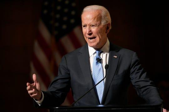 Former Vice President Joe Biden speaks at the Chuck Hagel Forum in Global Leadership, on the campus of the University of Nebraska-Omaha, in Omaha, Neb., Thursday, Feb. 28, 2019. (AP Photo/Nati Harnik)