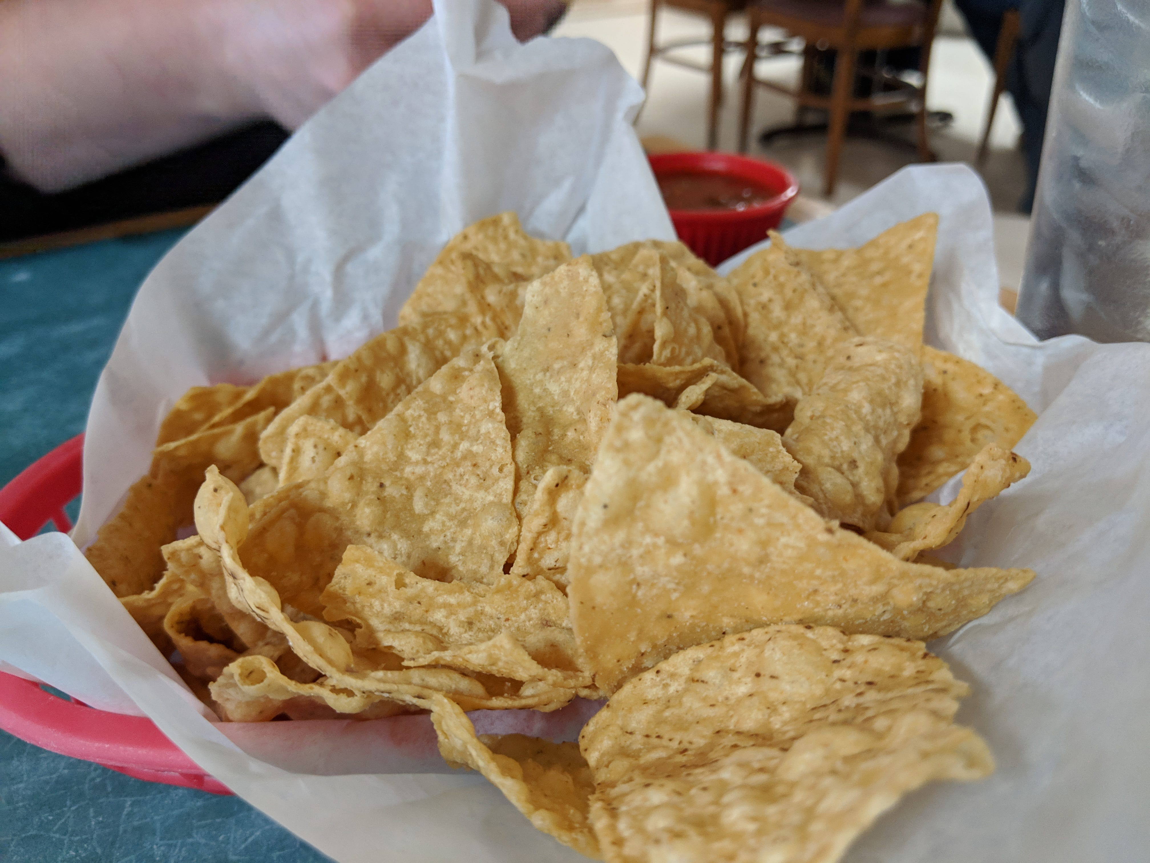 Tortilla chips at Thad & Paisley's Family Resturant.