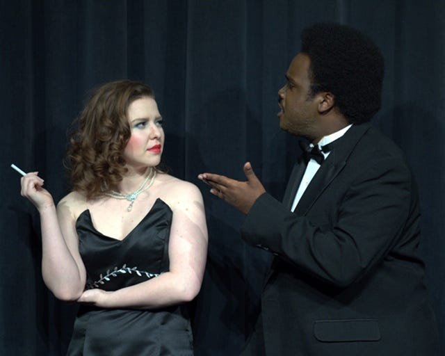 """Chris Gorman (Brea Solis) and husband Ken (Addrian Gaut Jr.) argue in Neil Simon's """"Rumors"""" to be screened at 7:30 p.m. tonight and Saturday, and 2:30 p.m. Sunday in Fain Fine Arts Center Theatre at Midwestern State University."""