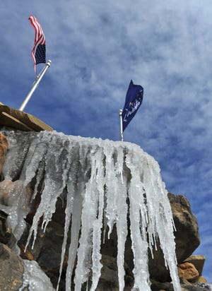 Icicles formed on the water fountain outside of the Wichita Falls Reginal Airport as temperatures struggled to stay in the twenties Monday morning. The National Weather Service is calling for a high temperature around 42 for Tuesday and by the of the week with highs '60s and '70s.