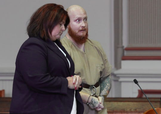 Lloyd Thornville addresses the court during his sentencing hearing in Muskingum County Common Pleas Court on Monday.