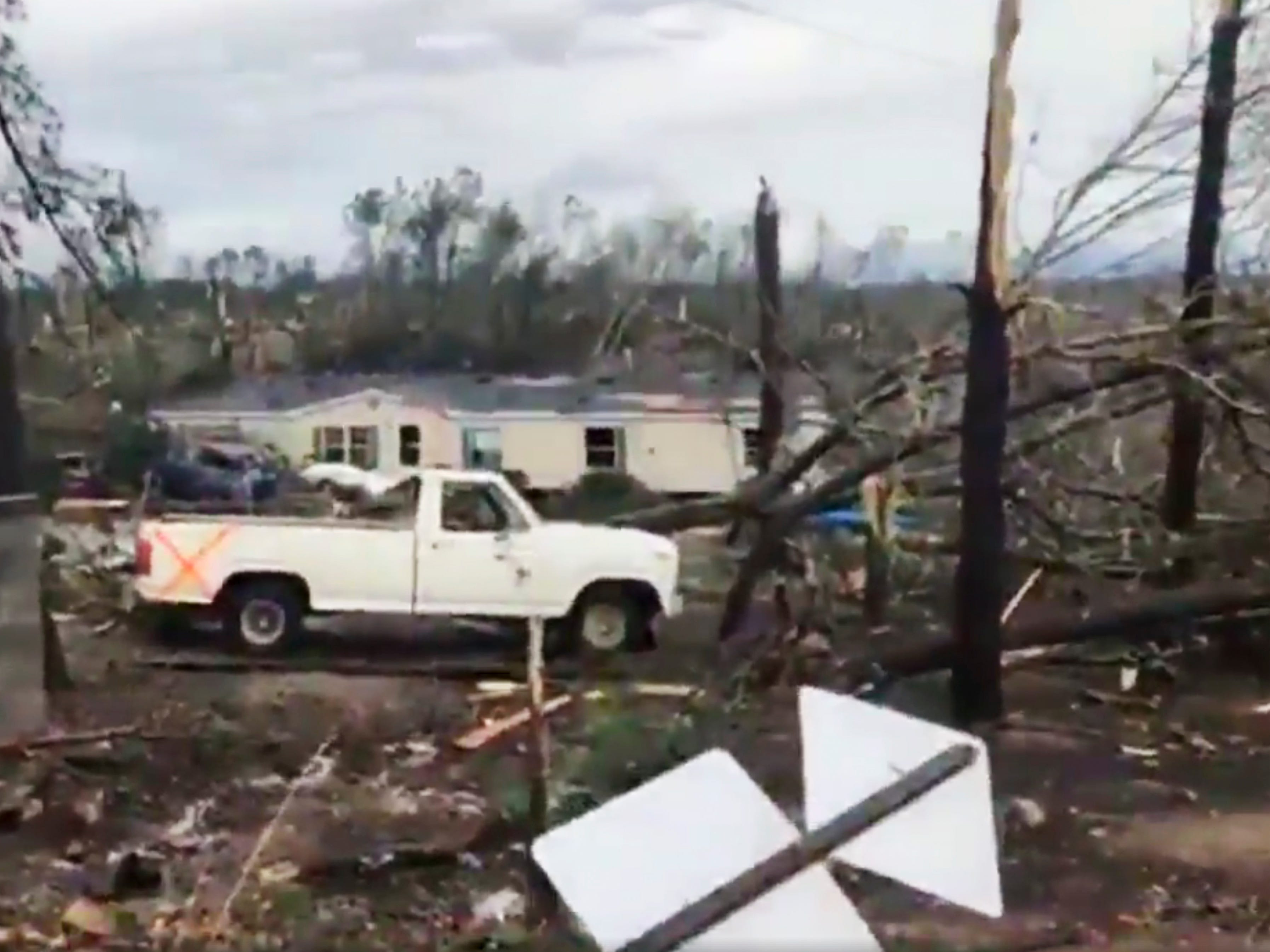 This photo shows debris in Lee County, Ala., after what appeared to be a tornado struck in the area Sunday, March 3, 2019. Severe storms destroyed mobile homes, snapped trees and left a trail of destruction amid weather warnings extending into Georgia, Florida and South Carolina, authorities said. (WKRG-TV via AP) ORG XMIT: WKRG703