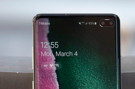 Samsung's Galaxy S10+ has a cut-out in the upper right corner for its two front cameras.