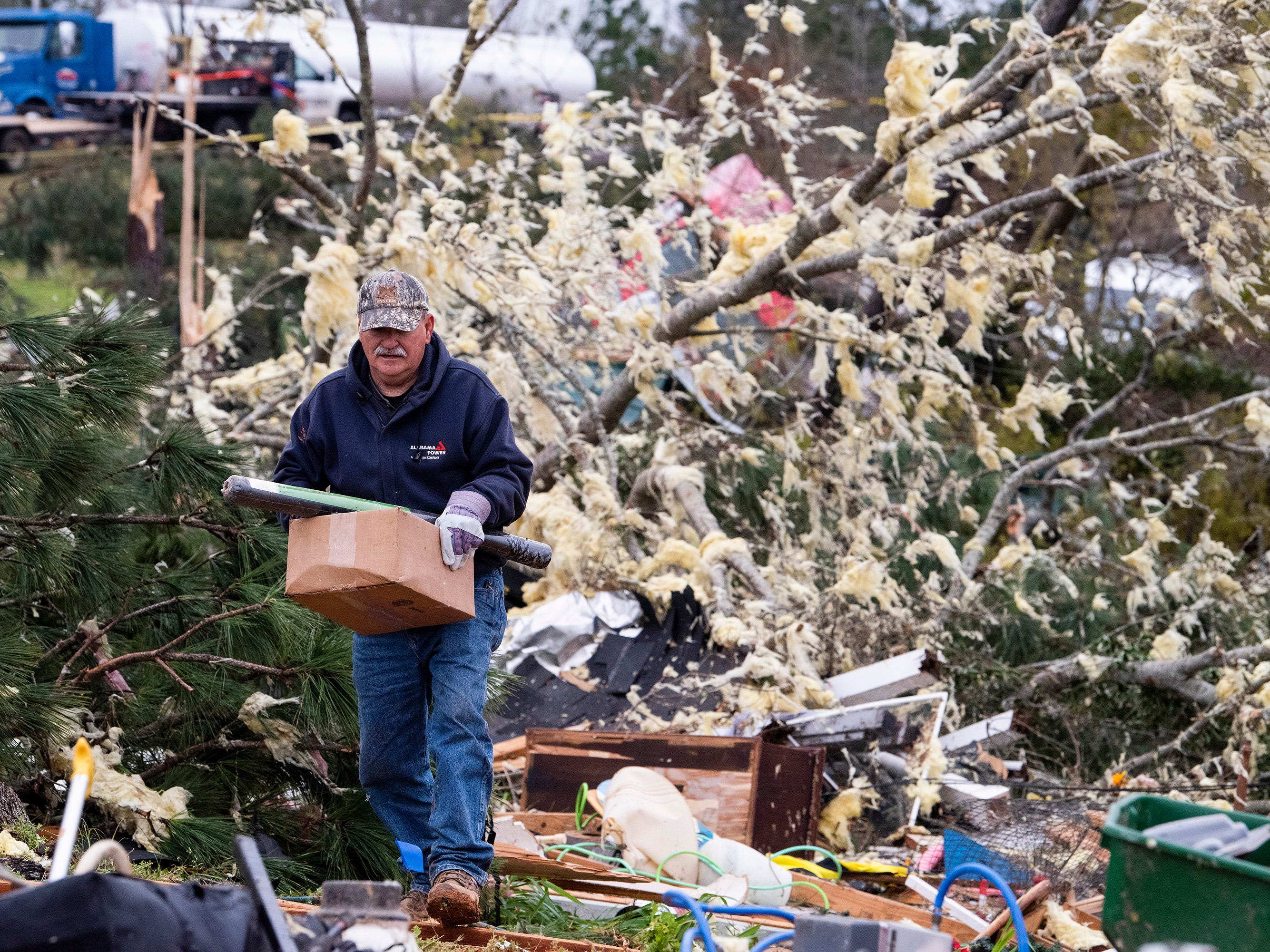 This is tornado damage near Beauregard, Ala., on March 4, 2019. A fatal  storm stuck on Sunday afternoon killing 23 people.