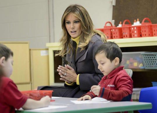 First lady Melania Trump visits a prekindergarten class at Tulsa's Dove School of Discovery Monday.