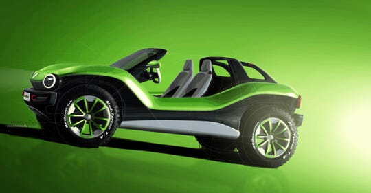 The Volkswagen I.D. Buggy electric all-terrain vehicle concept debuted at the 2019 Geneva auto show.