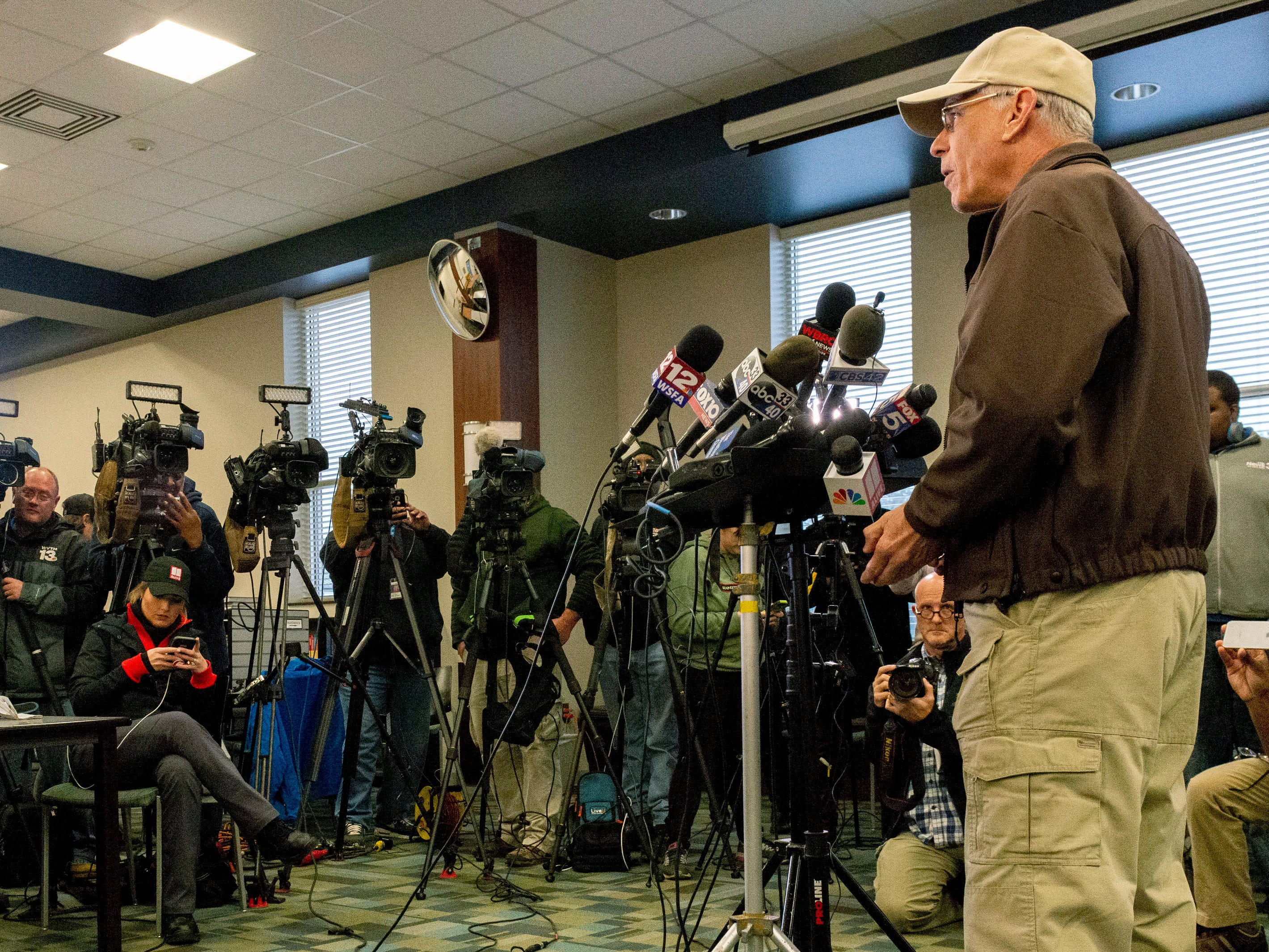 Lee County Sheriff Jay Jones, right, updates the media on search and rescue efforts following Sunday's deadly tornado during a press conference at Beauregard High School, Monday, March 4, 2019, in Beauregard, Ala. (AP Photo/Vasha Hunt) ORG XMIT: ALVH105