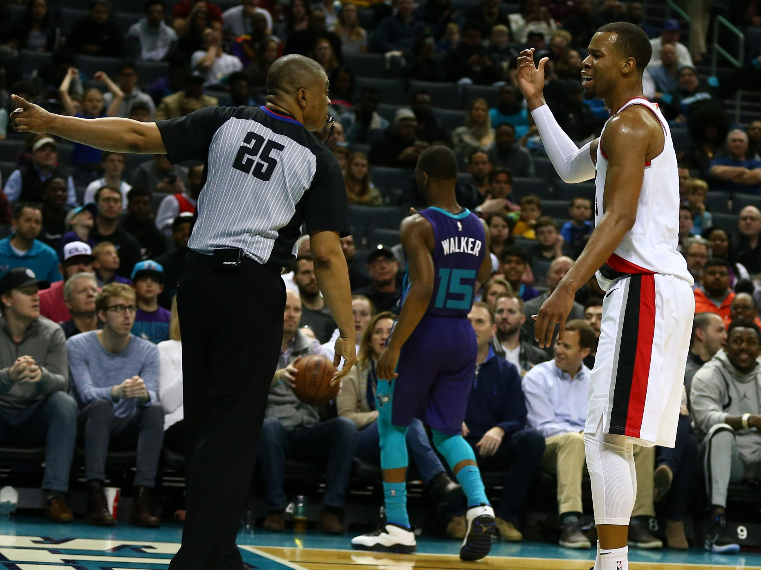 March 3: Trail Blazers guard Rodney Hood pleads his case with referee Tony Brothers during the second half against the Hornets in Charlotte.