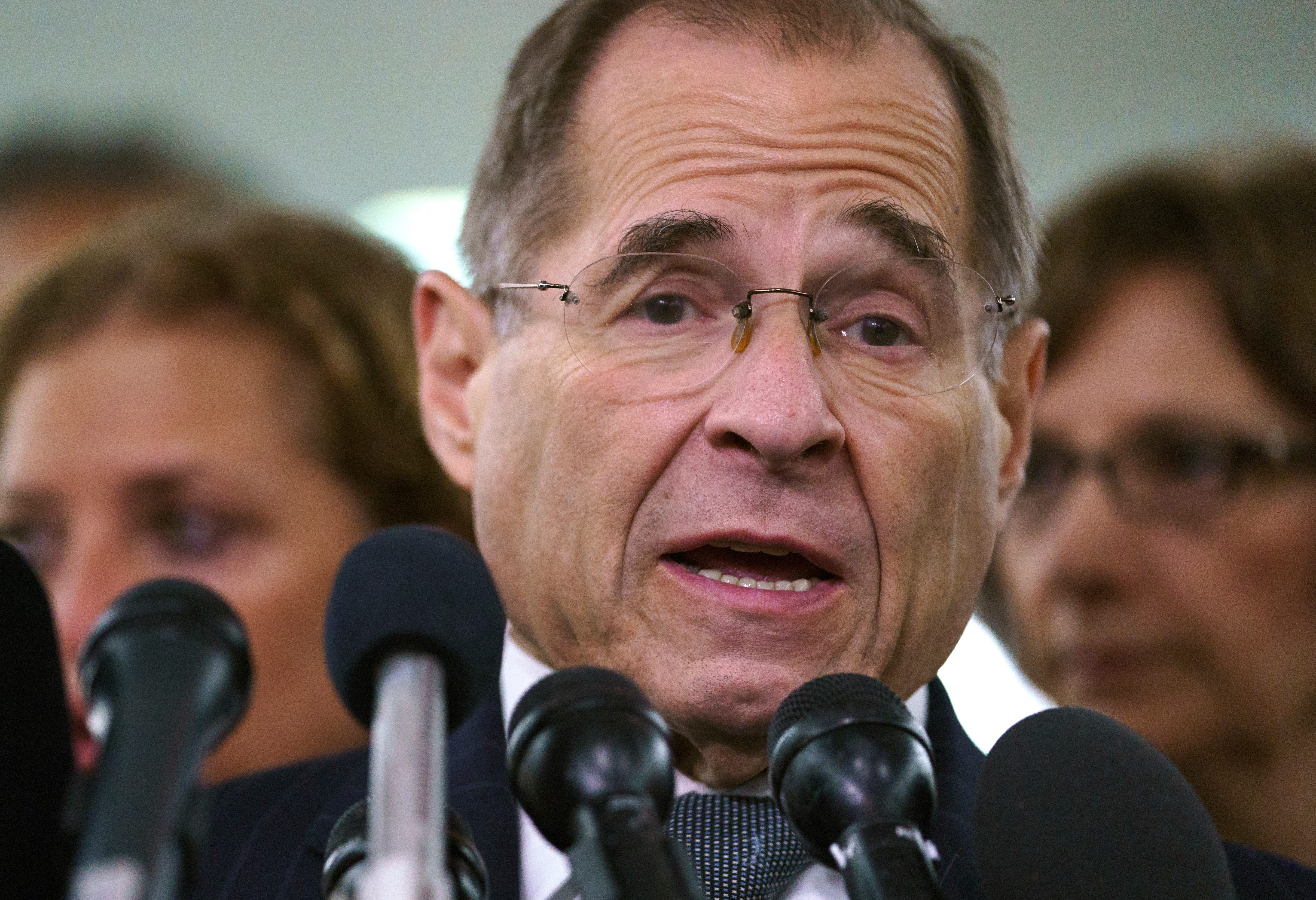 Then-House Judiciary Committee ranking member Jerry Nadler, D-N.Y., talks to media during a Senate Judiciary Committee hearing on Capitol Hill in Washington, Sept. 28, 2018.