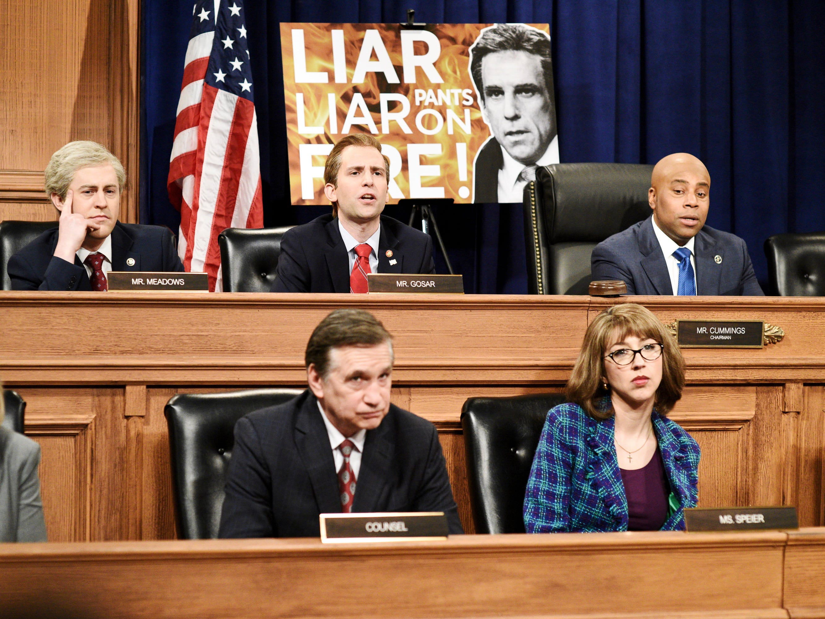 "After hearing from Arizona Republican Paul Gosar (Kyle Mooney, top center), who garbled his entire speech, and North Carolina's Mark Meadows (Alex Moffat top left), who confused Lynne Patton, a black female Trump staffer, with Omarosa, committee chair Elijah Cummings of Maryland (Kenan Thompson, top right) ended questioning so he could ""give a quick sermon and call everyone in this room a fool."""