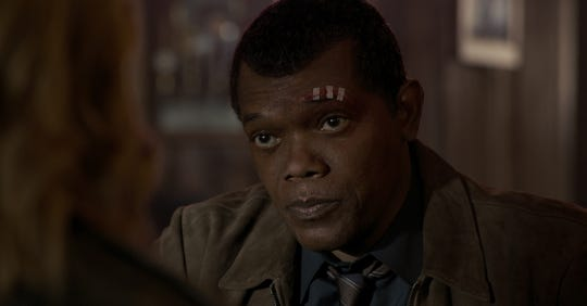 """Captain Marvel"" catches up with a younger Nick Fury (Samuel L. Jackson) as he's introduced to a galactic war."