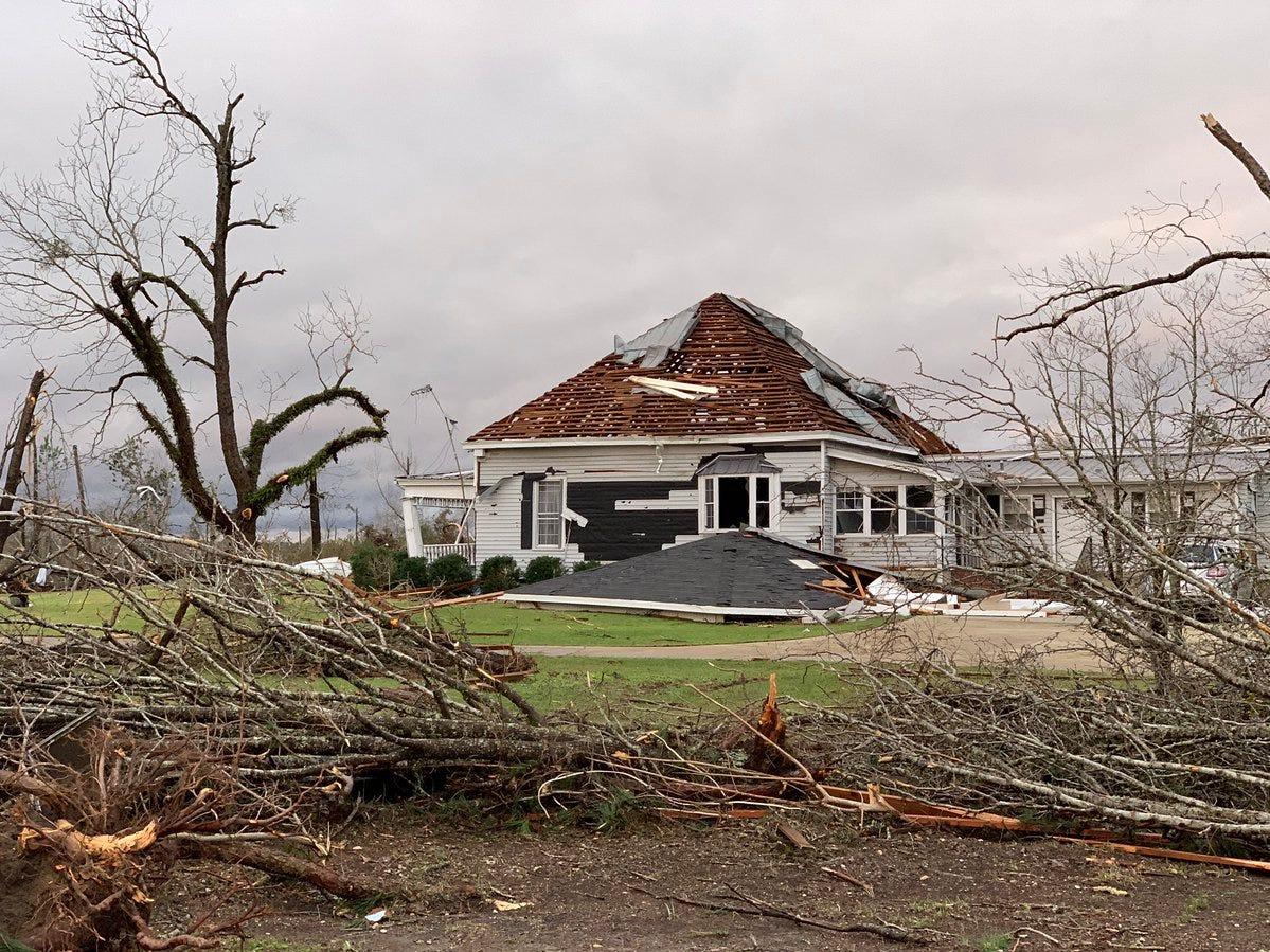Tornado damage in Beauregard, Ala. in Lee County. on March 3, 2019.