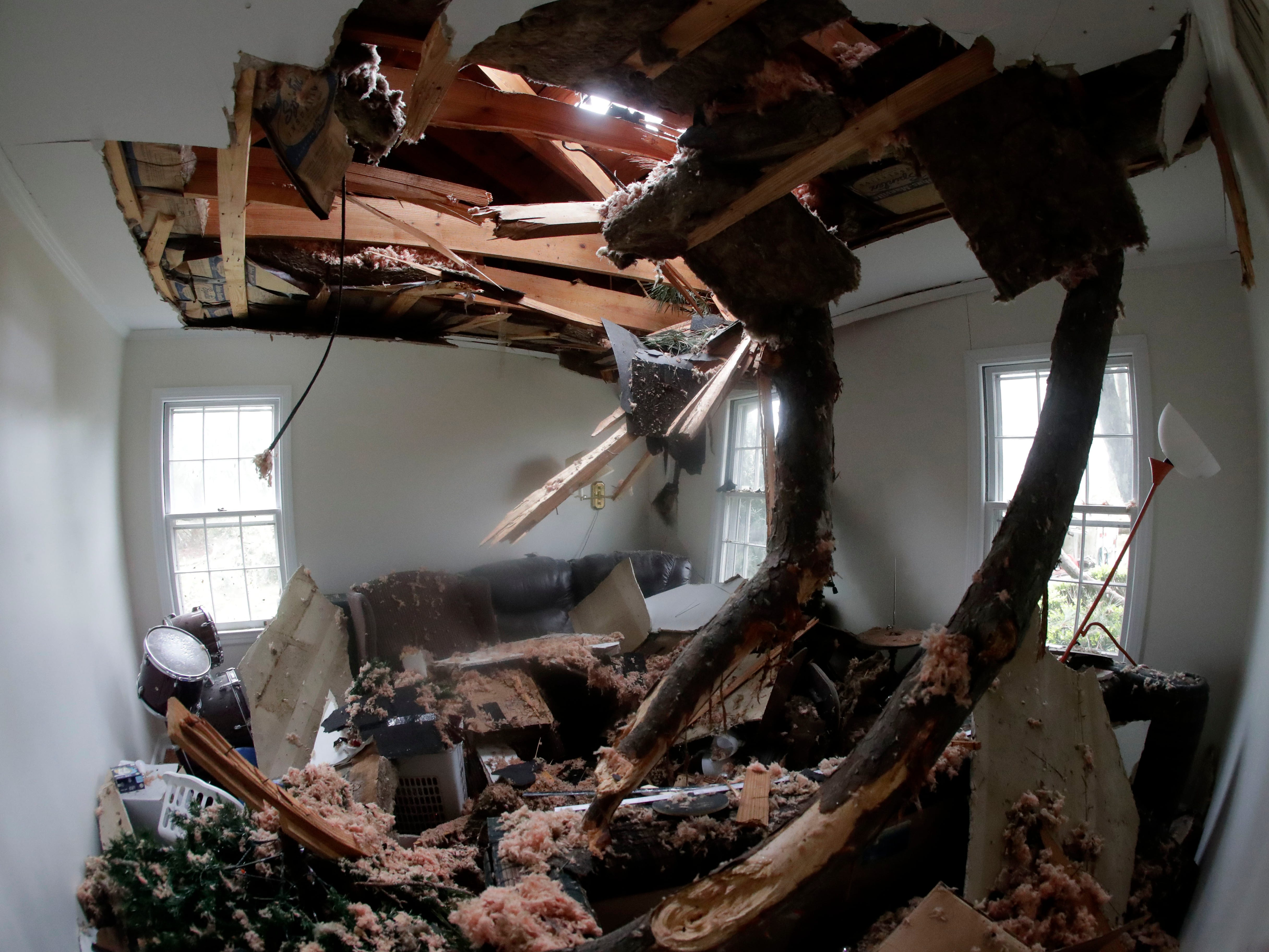 The youth house owned by the First United Methodist Church in Cairo, Ga., had a tree fall through the roof when a tornado hit on March 3, 2019.