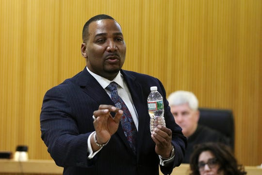 Mark Bailey, Gregory Jean-Baptiste's attorney, makes his closing arguments at the trial of Ebenezer Byrd, Gregory Jean-Baptiste and Jerry Spaulding in the mistaken-identity murder of Red Bank schoolteacher, Jonelle Melton, in her Neptune City apartment in 2009 at Monmouth County Courthouse in Freehold, NJ Tuesday, March 5, 2019.