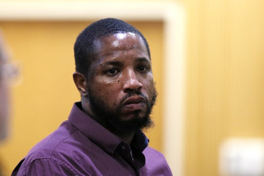 Ebenezer Byrd listens during closing arguments at the trial of Ebenezer Byrd, Gregory Jean-Baptiste and Jerry Spaulding in the mistaken-identity murder of Red Bank schoolteacher, Jonelle Melton, in her Neptune City apartment in 2009 at Monmouth County Courthouse in Freehold, NJ Tuesday, March 5, 2019.