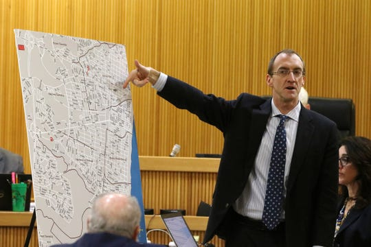 Matthew Bogner, assistant Monmouth County prosecutor, starts his closing arguments during the trial of Ebenezer Byrd, Gregory Jean-Baptiste and Jerry Spaulding in the mistaken-identity murder of Red Bank schoolteacher, Jonelle Melton, in her Neptune City apartment in 2009 at Monmouth County Courthouse in Freehold, NJ Tuesday, March 5, 2019.