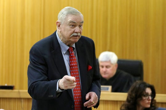 Robert Ward, Jerry Spaulding's attorney, makes his closing arguments at the trial of Ebenezer Byrd, Gregory Jean-Baptiste and Jerry Spaulding in the mistaken-identity murder of Red Bank schoolteacher, Jonelle Melton, in her Neptune City apartment in 2009 at Monmouth County Courthouse in Freehold, NJ Tuesday, March 5, 2019.