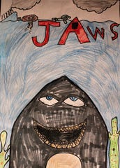 """Shark,"" colored pencil, Jakob Elliot, Ward Elementary School 5th grader"