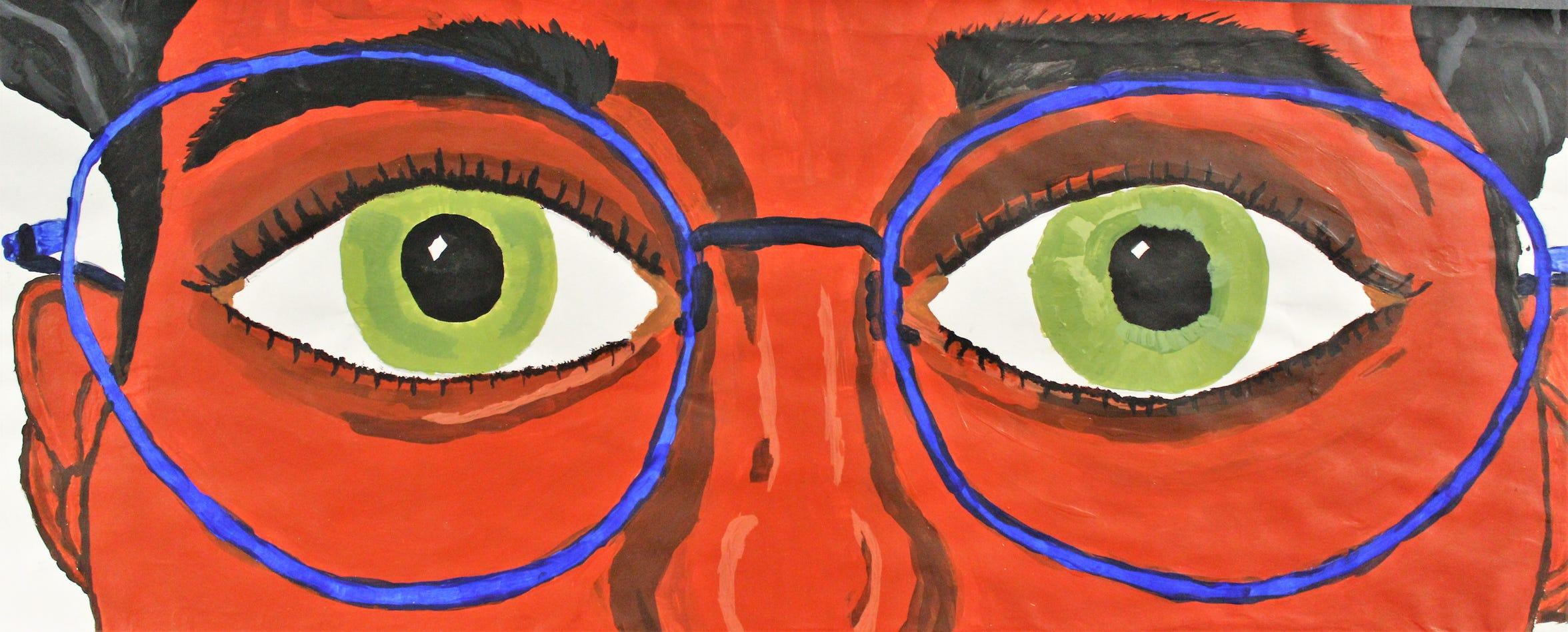 "Closeup of ""Eye Study,"" acrylic, Isaiah Saunders Forrest, Wylie High School"