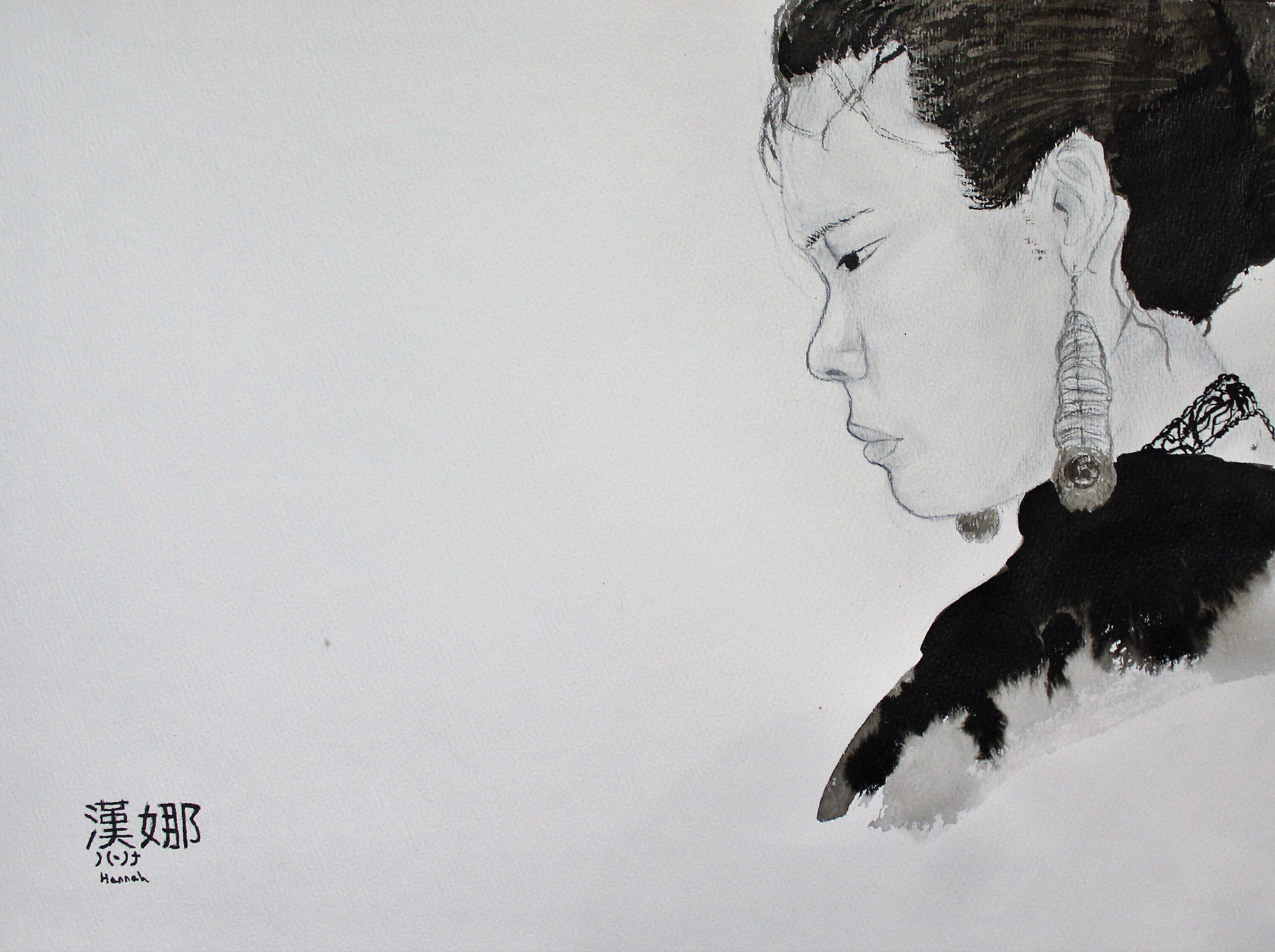 Charcoal and ink, Hannah Flatt, 7th-grader, Aimee's Art Studio
