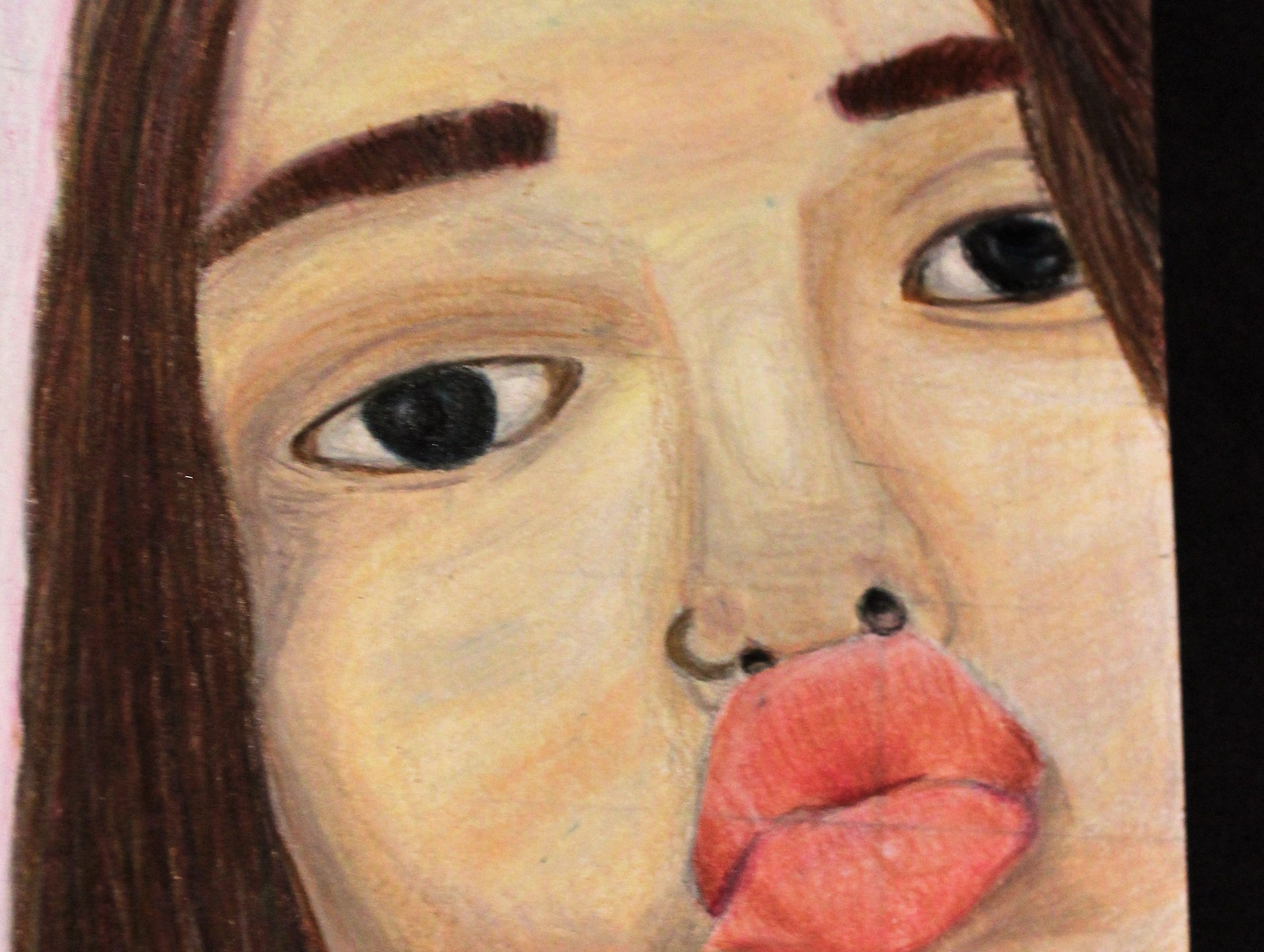 """Best Friend,"" colored pencil Mia Prentice, Mann Middle School 8th grader"