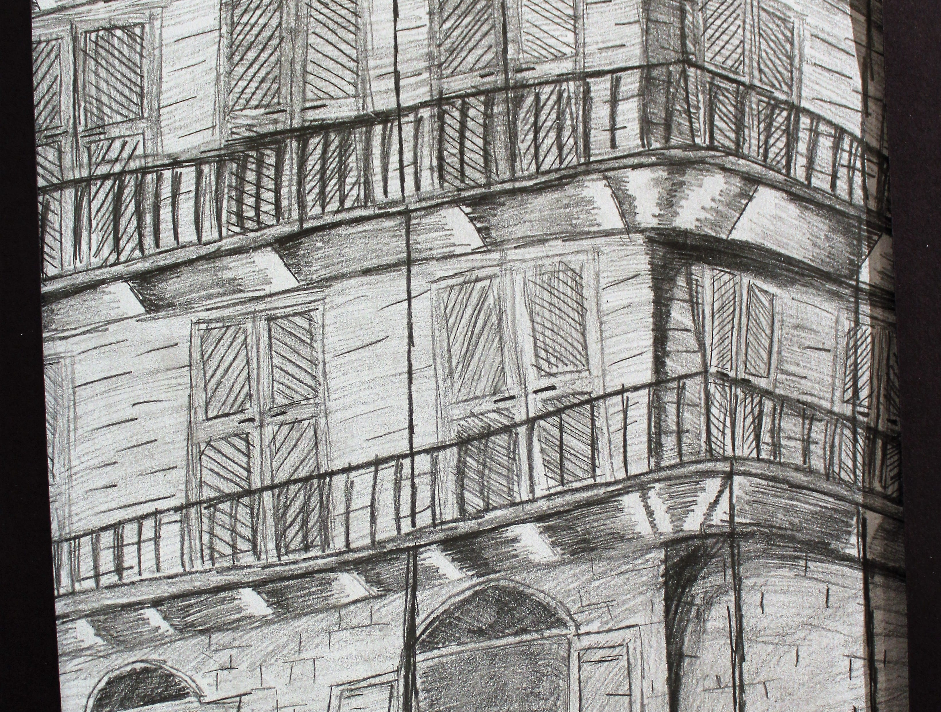 """NOLA Perspective 3,"" graphite, Jacob Robinson, Clyde High School"