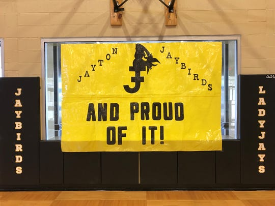 A poster hangs in the Jayton High School gym Tuesday, ahead of a community pep rally for the Jaybirds boys basketball team, which made the first state tournament in school history.