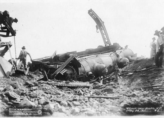 Railroad wreck near Bostic May 28, 1911. Photo by F. Marchant, courtesy N.C. Department of Archives and History.